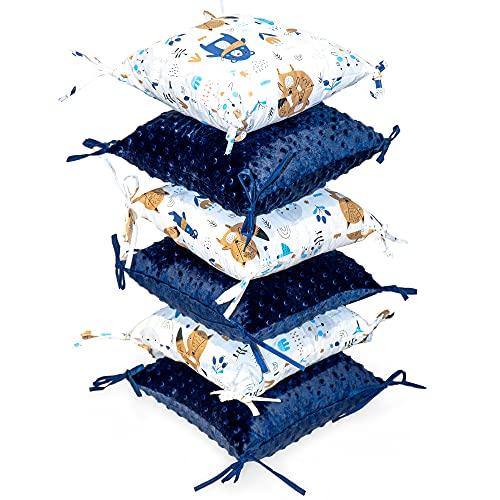 protector cuna chichonera 6 almohadas - parachoques bebe chichoneras 30 x 30 cm (azul, 6 almohadas 30 x 30 cm)