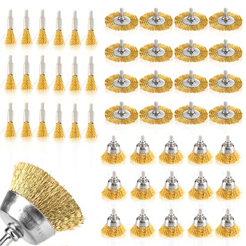 Dyna-Living 45Pcs Wire Wheel Cup Brush Set, Brass Coated Wire Wheel Drill Brushes Polishing Set with 3 Different Sizes for Rust Removal & Paint Removal