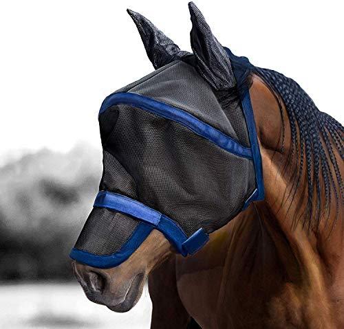Harrison Howard Maskology Supreme Horse Fly Mask UV Protection for Horse Black Blue