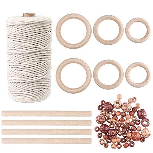 TUPARKA 109 Yards 3mm Cuerda Cordón de macramé natural con 60 piezas de cuentas de madera 6 piezas de anillo de madera y 4 piezas de palo de madera para manualidades, perchas de bricolaje