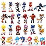 XINBANG Figura Sonic 25 unids / Lote 5-7 cm Figuras sónicas World Adventure Metal Sonic Werehog Tails Figuras de acción Shadow Knuckles X Anime Figurines Juguetes Conjunto