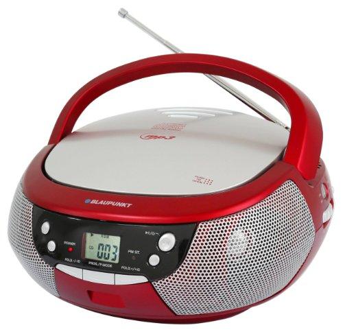 Blaupunkt B 3e RD Boombox mit Radio/CD/MP3-Player (ERP2, LCD-Display mit Backlight) rot
