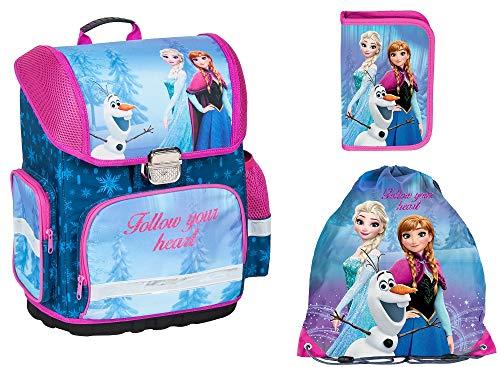 Frozen Anna ELSA Schulranzen Mädchen 1 Klasse Tornister Schulrucksack Schultasche Set 3 tl für Grundschule super leicht ergonomisch und anatomisch // Original Lizenz //