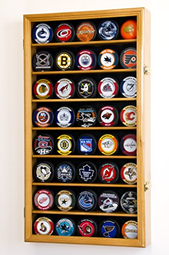 sfdisplay. COM, Factory Direct Display Fällen 40 Hockey Puck Display Fall Kabinett Inhaber Rack 98% UV -, Oak Finish