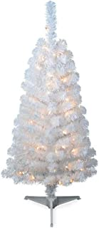 4' Pre-lit White Artificial Tinsel Christmas Tree Clear Lights