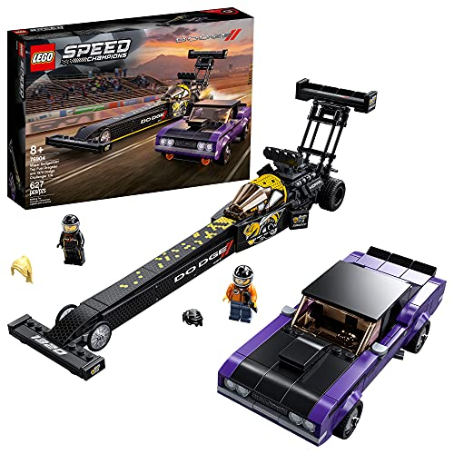 LEGO Speed Champions Mopar Dodge//SRT Top Fuel Dragster and 1970 Dodge Challenger T/A 76904 Building Toy; New 2021 (627 Pieces)