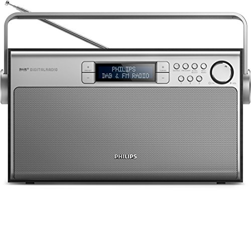 Philips AE5220B/12 Radio Portatile, DAB+, Display LCD, Antenna telescopica, Argento