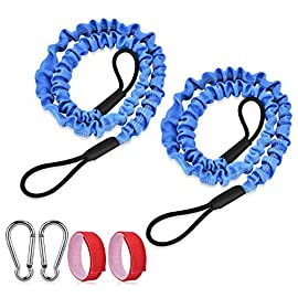 "FIRINER 2 Pack Stretchable Paddle Leash with D-Shape Carabiner, 3.6ft Kayak Paddle Tether Set Coiled Strap Bungee Leash… 1 【Easy to Use】This paddle leash is easy to use and attach. All you have to do is to tie its one end to the paddle or fishing rod and attach the other end to your life jacket or your boat with the carabiner 【Stretchable Design】The kayak leash paddle can be extended from 44.8 inch to 59 inch, which is long enough for most usage. 14"" of elongation keeps you reach what you need when paddling or reeling to a large extent 【Durable】This kayak paddle leash is made of 6mm super strong elastic rubber to make sure its service time, the fixed elongation won't over stretch and loose elasticity. And nylon outer greatly increase its anti-corrosion performace and longer service life"