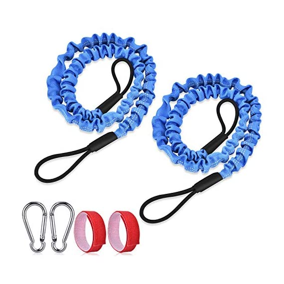 """FIRINER 2 Pack Stretchable Paddle Leash with D-Shape Carabiner, 3.6ft Kayak Paddle Tether Set Coiled Strap Bungee Leash… 1 【Easy to Use】This paddle leash is easy to use and attach. All you have to do is to tie its one end to the paddle or fishing rod and attach the other end to your life jacket or your boat with the carabiner 【Stretchable Design】The kayak leash paddle can be extended from 44.8 inch to 59 inch, which is long enough for most usage. 14"""" of elongation keeps you reach what you need when paddling or reeling to a large extent 【Durable】This kayak paddle leash is made of 6mm super strong elastic rubber to make sure its service time, the fixed elongation won't over stretch and loose elasticity. And nylon outer greatly increase its anti-corrosion performace and longer service life"""