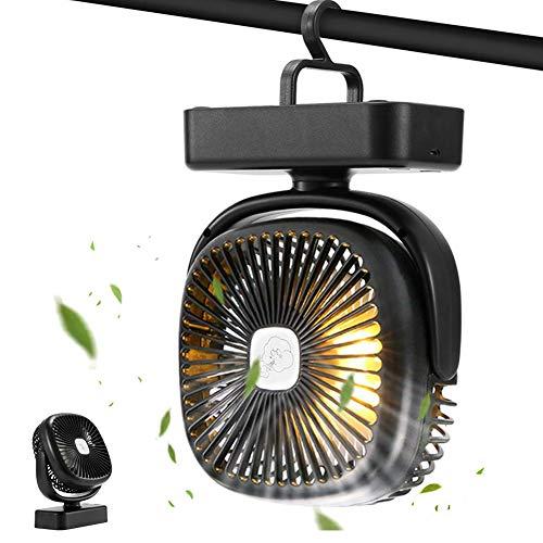 GEYUEYA Home USB Ventilator, Mini Tischventilator Leise Camping Ventilator Tragbarer Lüfter Ventilator mit Nachtlicht 3 Geschwindigkeiten 360° drehbar für Büro, Zuhause, Schlafzimmer, Zelt, Camping
