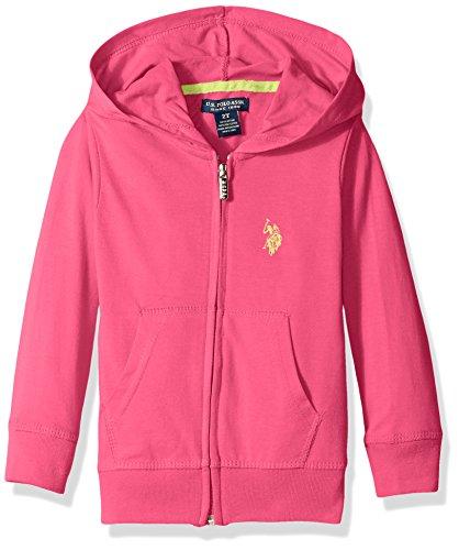 U.S. Polo Assn. Little Girls' Midweight Jersey Hoodie, Hot Pink, 6X