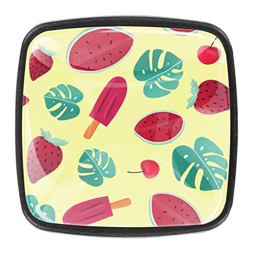 (4 piezas) pomos de cajón para cajones, tiradores de cristal para gabinete con tornillos para gabinete, hogar, oficina, armario, hojas de sandía, fresa, color amarillo cereza