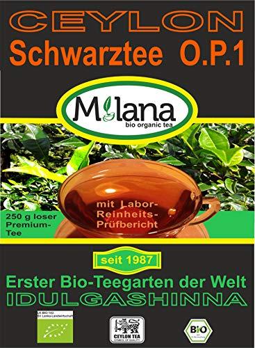 250 g Milana CEYLON Premium BIO-SCHWARZTEE OP1 - lose Blätter, schwarzer Tee Orange Pekoe-1, 55 Prozent des Verkaufspreises ist SOZIALE HILFSLEISTUNG - Der Tee, ...der nach Liebe schmeckt...