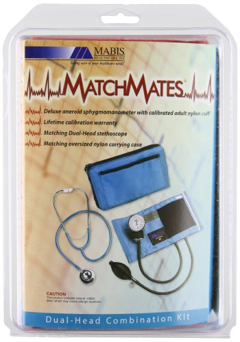 MABIS MatchMates Aneroid Sphygmomanometer and Dual Head Stethoscope Combination Home Blood Pressure Kit with Calibrated Nylon Cuff, Professional Quality, Carrying Case, Red -  01-260-081