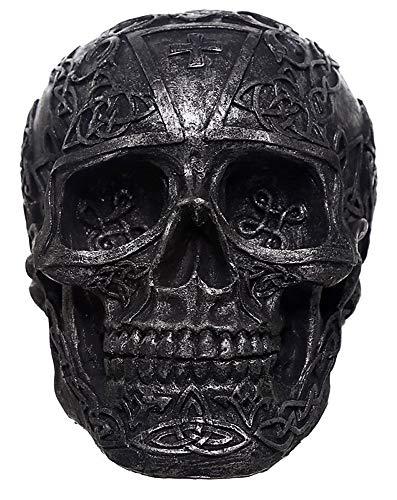 NAMENLOS Keltischer Gothic-Totenkopf, schwarz, mit Kreuz auf der Stirn | Fantasy Skull, Totenschädel, Kopf-Skulptur, Statue, Figur, H 11 cm