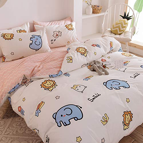 CYGJ Three-piece or four-piece set of hypoallergenic cotton and comfortable beddingElephant and lion1.5m-1.8m four-piece set