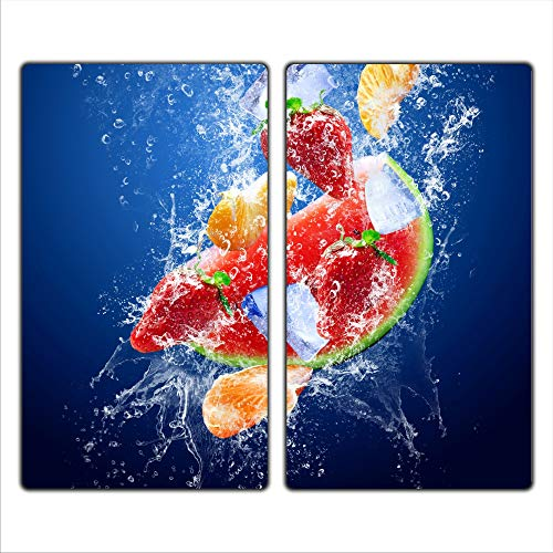 Früchte 2 Set Glas Abdeckplatte 2x30x52 Schneidebrett Herdabdeckplatte