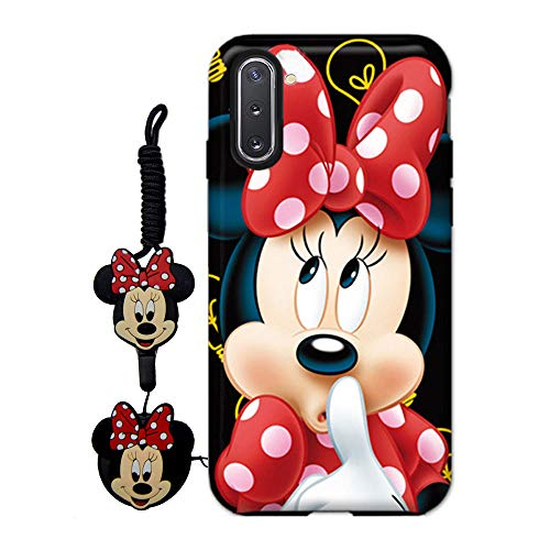 MME Cartoon Case for Galaxy Note 8 - Mickey Minnie Mouse Case Cute 3D Character Case Soft TPU with Pop Out Phone Stand Holder and Neck Strap Lanyard for Girls (Red,Note8)