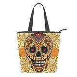 Sac fourre-tout en toile avec motif tête de mort mexicaine pour femme - Orange