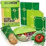 Ecowize Bienenwachstücher 5er Set I Wachspapier für Lebensmittel I Wiederverwendbare Wachstücher aus natürlichem Bienenwachs I für natürliche Lebensmittelaufbewahrung I 1 Small, 3 Medium und 1 Large