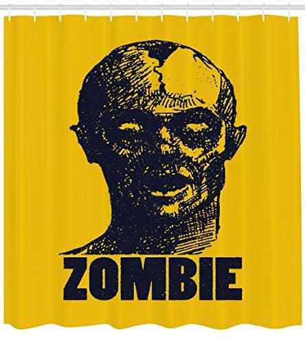 ABAKUHAUS Zombie Duschvorhang, Dead Man Portrait, mit 12 Ringe Set Wasserdicht Stielvoll Modern Farbfest & Schimmel Resistent, 175 x 200 cm, Indigo Erde Gelb