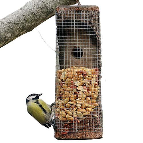 Wooden Bird Feeder Hanging Bird Houses Creative Wild with Pole Squirrel Guard Viewing Window or Peanuts Garden Yard Outdoor
