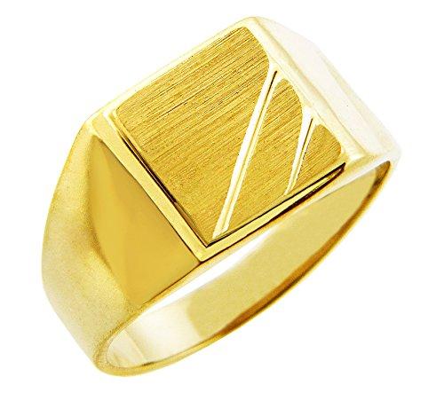 Kleine Schätze - Herren Ring/Verlobungsring/partnerring/Ehering 9 Karat Herren Gold Signet Siegelring Ring - Phoebus Gold Signet Siegelring Ring