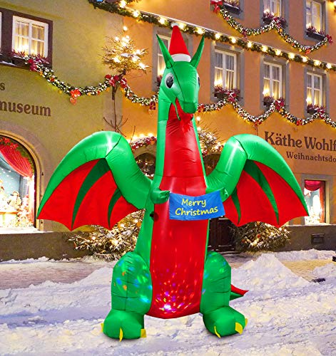 inslife Christmas 9 Ft Inflatable Dragon Decoration with Xmas Wish Decorations with Light Show for Home Yard Lawn Garden Party Indoor Outdoor