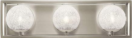 Kichler Lighting 45918NI Karia - 3つのライトバスバニティ、つや消しニッケル仕上げ、透明/キュービックジルコニアガラス