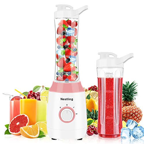 Nestling Smoothie Blender, 350W Portable Blender, Mini Blender Electric Mixer with 2x600ml BPA-Free Travel Bottle for Smoothie, Milkshake, Fruit, Vegetable Drinks, Ice and Baby Food (Pink)