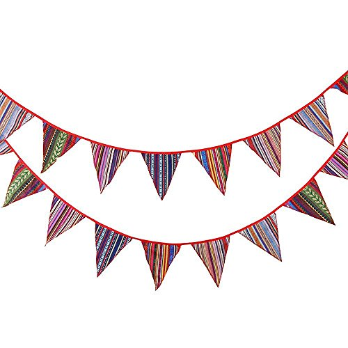 G2PLUS Multi-colored Outdoor Bunting, Fabric Banner Pennant Garlands, Gypsy Style Triangle Flags Decoration for Birthday Parties Ceremonies Kitchen Bedrooms