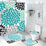 Krelymics 4 Piece Dahlia Pinnata Shower Curtain Sets with Non-Slip Rug, Toilet Lid Cover, Bath Mat and 12 Hooks, Flower Shower Curtain Durable Waterproof Bath Curtain