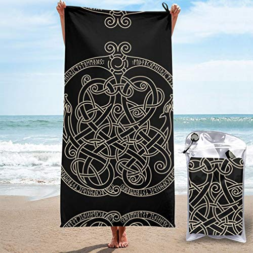 POSONINGS Ancient Decorative Dragon in Celtic Style Quick Dry Beach Towels Portable Bath Towel Travel Beach Towel,Outdoor Swimming Sports Quick Dry Towel,Women Men Kids
