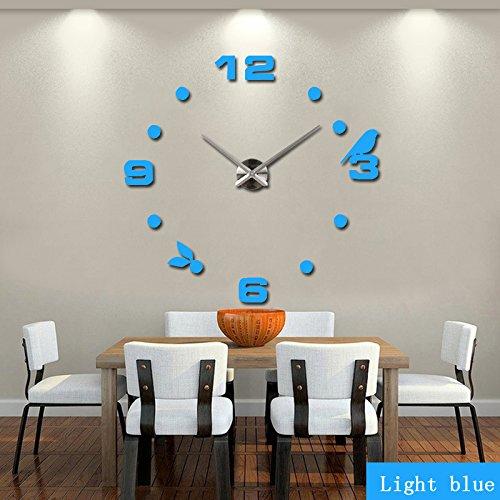 WuuLii Decor Wanduhr-Spiegel Wandaufkleber Wanduhr - Einfache Moderne Acrylspiegel DIY Spiegel Wohnzimmer Wanduhr groß, Hellblau