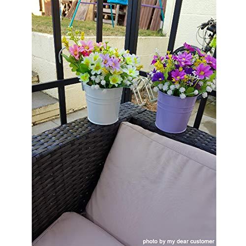 GIOVARA Metall-Blumentopf-Eimer zum Aufhängen, Übertopf mit Abflussloch, mit abnehmbarem Haken, für Garten/Balkon/Wohndekor (10 Stück im Sortiment in 10 Farben) - 4