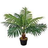 Outsunny Palma in Plastica Decorativa, Pianta Tropicale Finta con Vaso per Interno ed Esterno, Ф16 x 60cm
