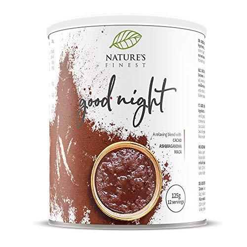 Nature\'s Finest Latte Buenas Noches 125g | Mezcla orgánica de infusión de Cacao, Ashwaganhda y Maca | Vegetariana y vegana.