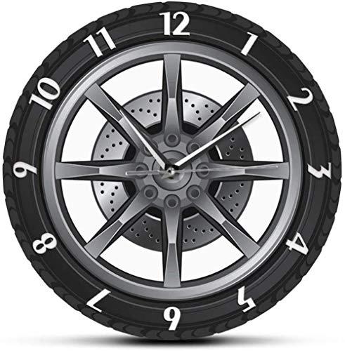 TIANZly Reloj de Pared reparación de Servicio de Coche Rueda de neumático de Garaje Reloj de Pared de Coche Reloj Retro Regalo mecánico Fresco Ideal para Taller de automóviles