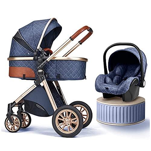 JIAX Cochecito de bebé 3 en 1 carrito de bebé, cochecito plegable de lujo, cochecito de bebé recién nacido con almohadilla de enfriamiento cubierta de lluvia saco mosquitero (color: azul a)