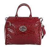 Kathy Van Zeeland Croco PVC Designer Handbag - 16 Inch Dowel Bag Carry On Luggage - Lightweight Durable Travel Overnight Work Purse for Women (Burgendy)