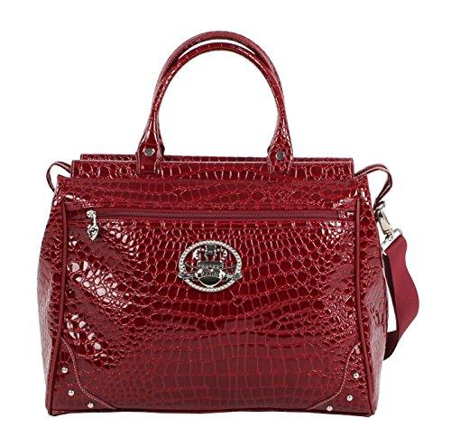 Kathy Van Zeeland Croco PVC Designer Handbag - 16 Inch Dowel Bag Carry On...