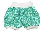 Kleine Könige Kurze Pumphose Baby Mädchen Shorts · Modell Retro Floral Mint weiß · Ökotex 100 Zertifiziert · Größe 122/128