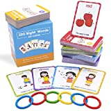 Conzy Dolch Sight Words Flash Cards for Kindergarten 1st 2nd 3rd Grade Preschool Toddlers, 220 Sight Words with Pictures and Sentences for Kids Learn to Read, 5 Levels of Difficulty, 6 Sorting Rings