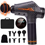 Massage Gun,Portable Deep Tissue Muscle Massager,Percussion Massager for Athletes Relief Pain,30 Speeds,8 Heads,Massager for Home Office Gym(Carbon)