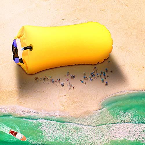 Garberiel Swim Buoy Boa Galleggiante 20L Giallo Brillante PVC Impermeabile Gonfiabile per Traino, Nuotatori, triatleti