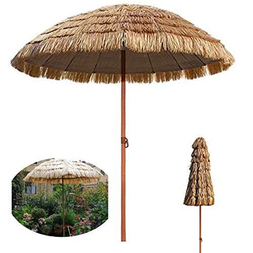 LDJ Sombrilla De Jardín, Parasol Solar Rafia Paja, con 8 Costillas Y Manivela, Protección UV Sombrillas para Exteriores Jardines, Patios Terrazas, Cafetería