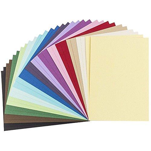 30 Bogen Bastelpapier mit eleganter Prägung, Deko-Karton Anna, Premium Qualität (220 g/qm), Leinen-Optik, DIN A5