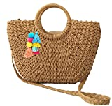 Womens Large Straw Bags Beach Tote Bag Hobo Summer Handwoven Bags Purse With Pom Poms (D-Khaki)