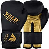 VELO Boxing Gloves Crystal Leather Muay Thai Training Sparring Punching Bag Mitts Kickboxing Fighting Glove for Punch Bag | Focus Pad | Arm Kick Pad (12oz, Golden-Black)