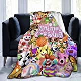 Anime Animal Cute Characters Cro-ssing Flannel Fleece Blanket with Pompom Fringe, Fuzzy Washable Large Positive Bed Blanket Throw Blanket fit for Couch Living Room Chair, 50x40 inch